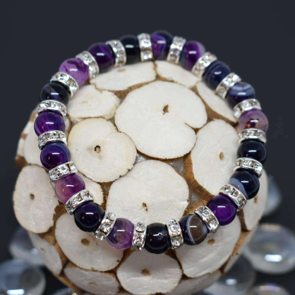 Powerful Talisman Beaded Bracelet Agate Natural Stone Bracelets BeAdornedUK Purple
