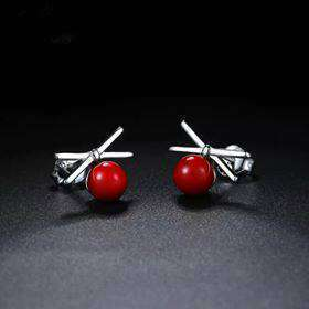 Red Bowknot Sterling Silver Stud Earrings