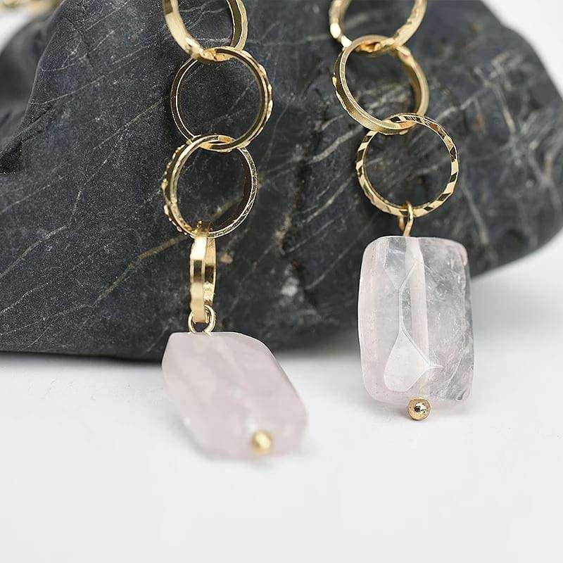 Rock Rose Quartz Natural Stone Drop Earrings Earrings BeAdornedUK