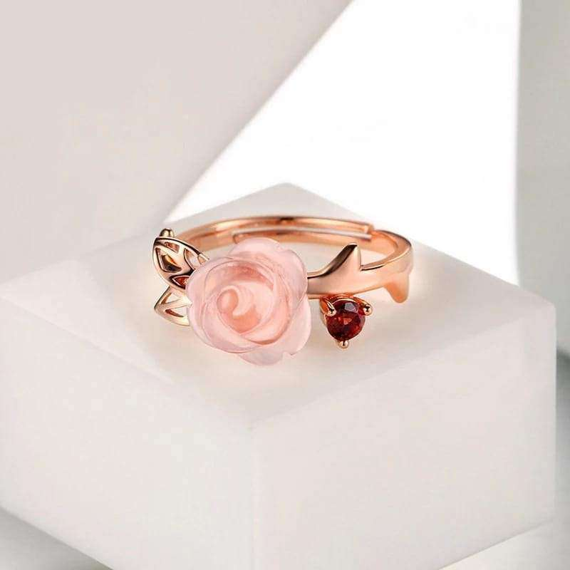 Rose Quartz Flower Adjustable Ring