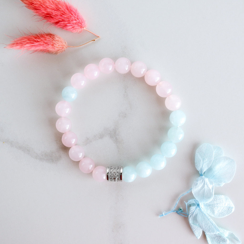 Inner Piece Aquamarine And Rose Quartz Bracelet