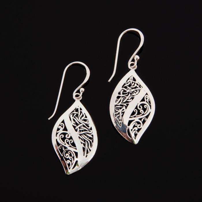Silver Dangle Earrings Oxidized Ornate Curves