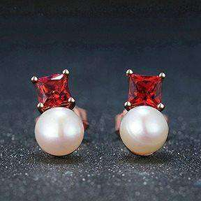 Silver Stud Earrings Red Garnet and Freshwater Pearls
