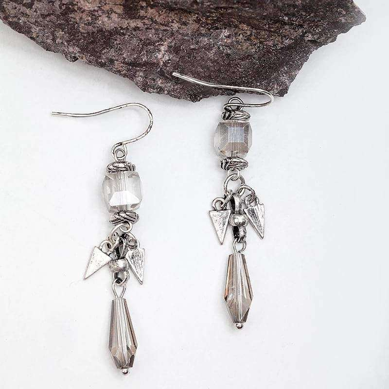 Simple Glamour Dangle Earrings Vintage Style Earrings Handmade Worn Silver