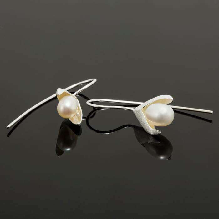 Snowdrop Inspired Flower With Pearl Dangle Earrings Earrings BeAdornedUK