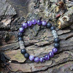 'Soothing And Calming' Amethyst And Lava Stone Handmade  Bracelet