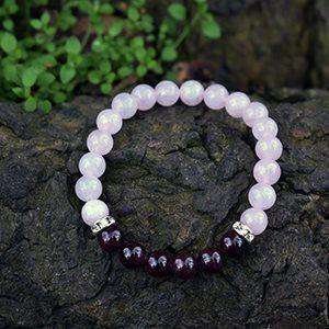 Soothing And Calming Healing Crystals Bracelet, Rose Quartz And Garnet