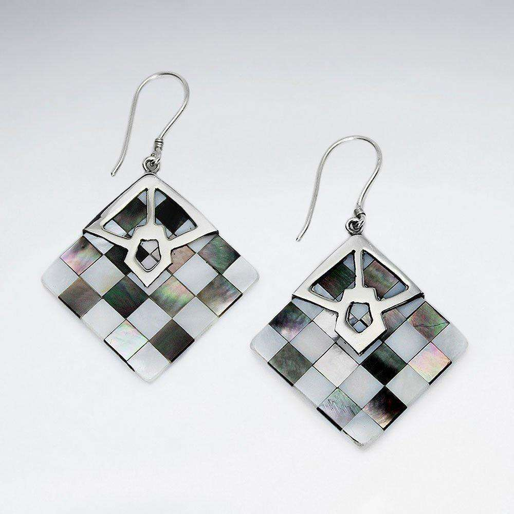 Square Lattice Shell 925 Sterling Silver Drop Earrings Earrings BeAdornedUK