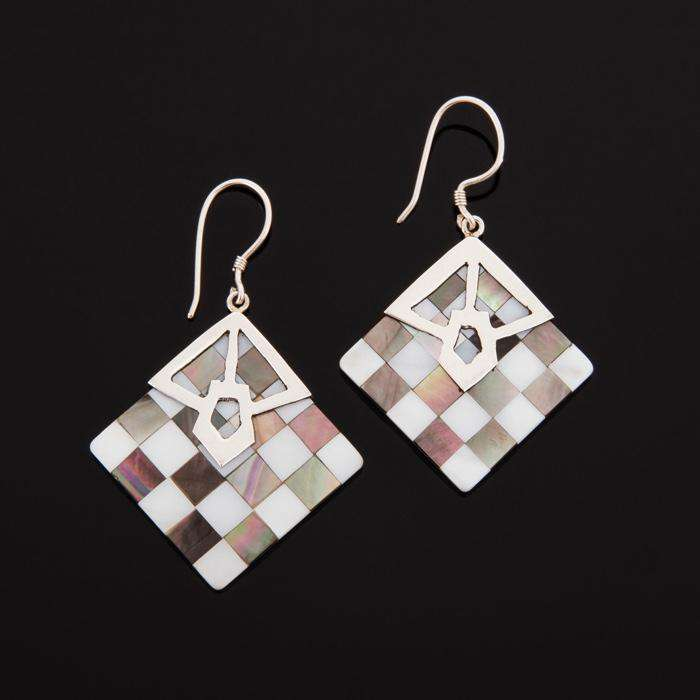 Square Lattice Shell 925 Sterling Silver Drop Earrings