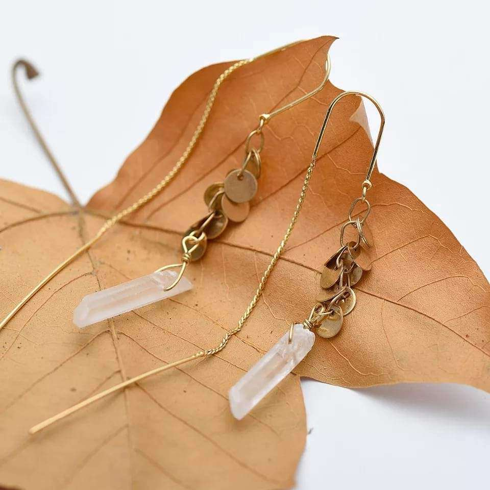 'Stay with Me' Stone Long Drop Earrings Boho Jewellery