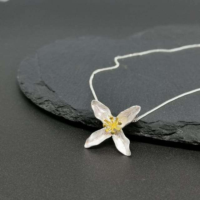 Sterling Silver Open Flower Pendant And Chain Necklaces BeAdornedUK