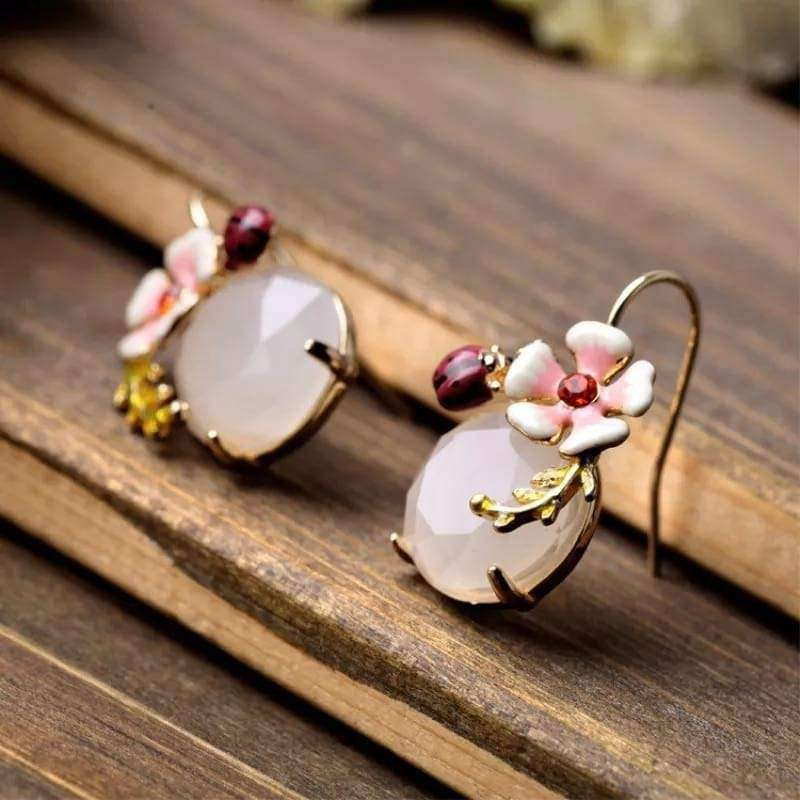 Sweet Ladybug Flower Drop Earrings Earrings BeAdornedUK