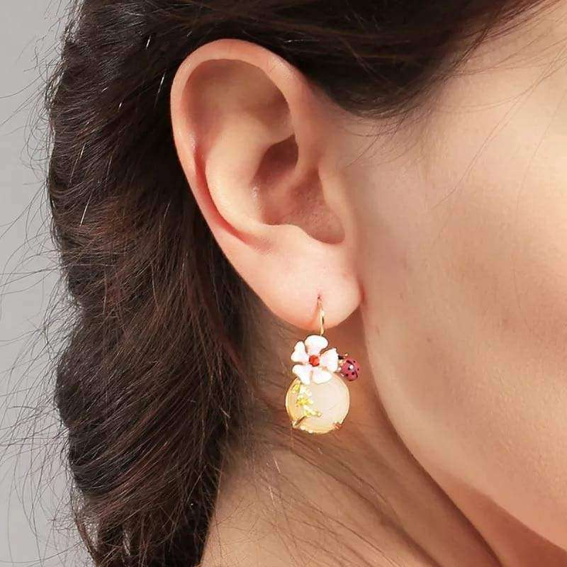 Sweet Ladybug Flower Drop Earrings