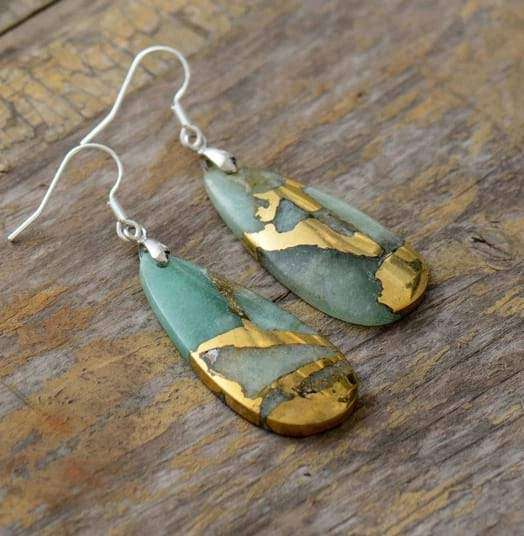 Teardrop Natural Quartz Dangle Earrings