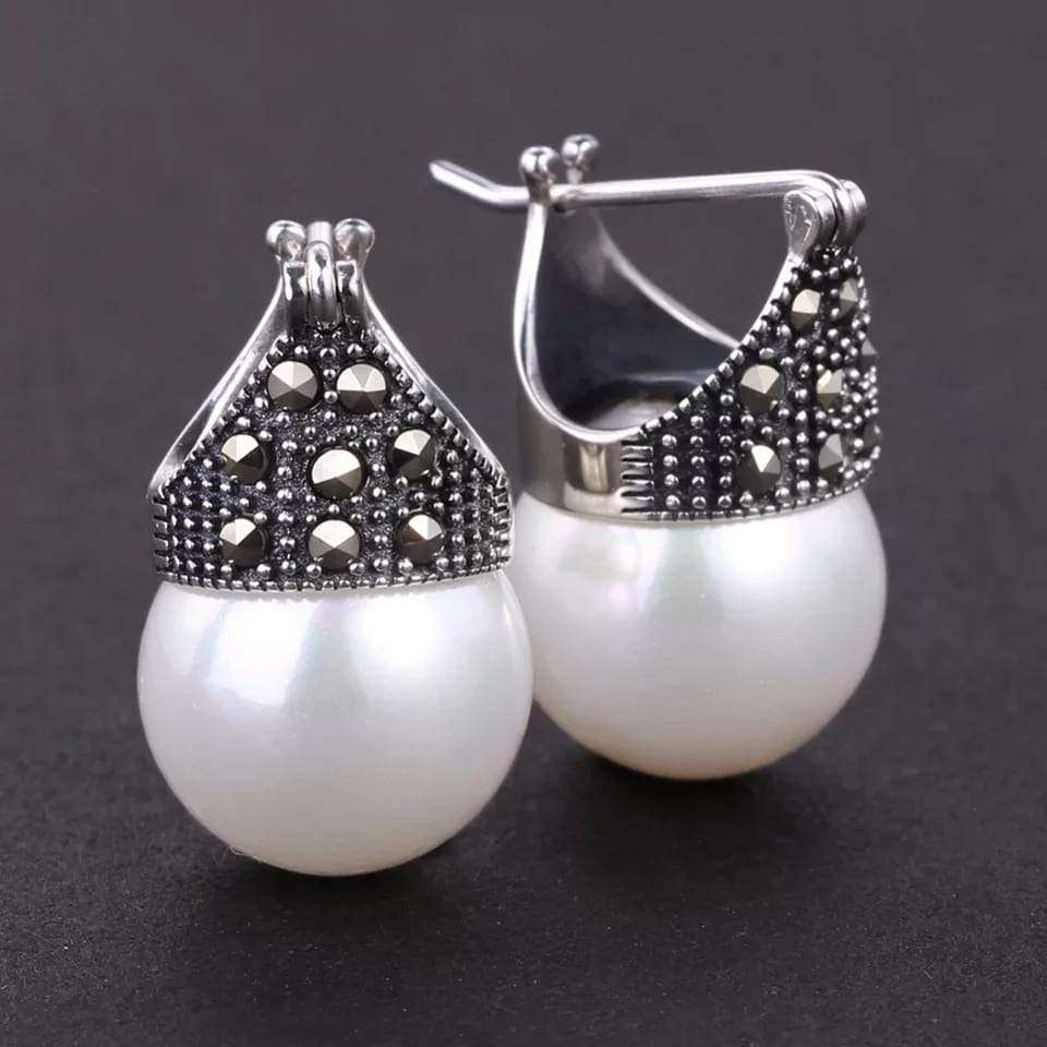 Unique Silver Pearl Earrings Earrings Handmade