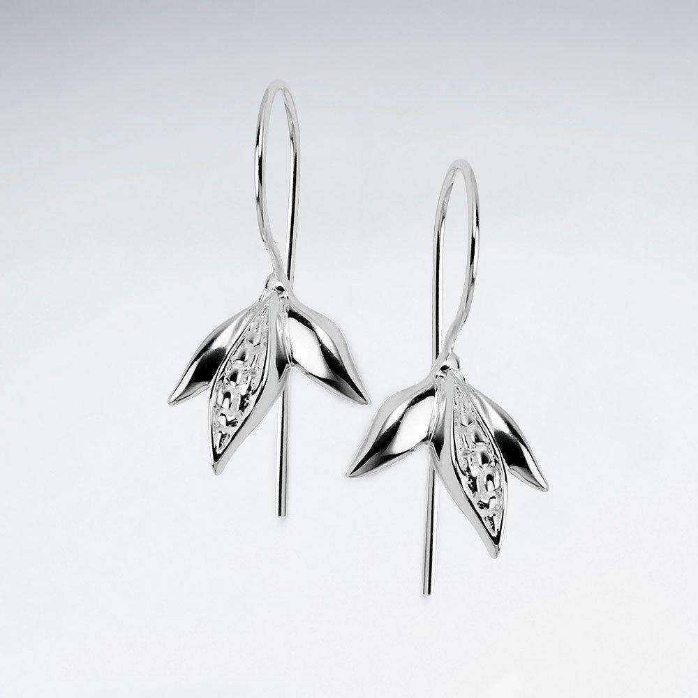 Upturned Blossom Polished Silver Dangle Earrings