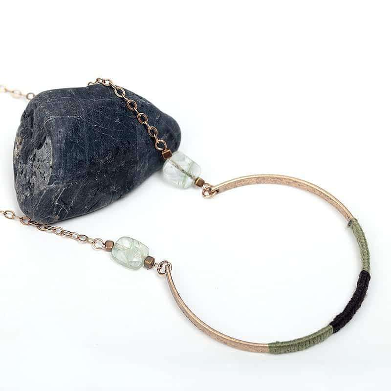 Vintage Long Pendant Necklace With Natural Stone.