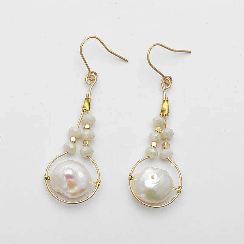 'White Love' Freshwater Pearls Long Drop Earrings