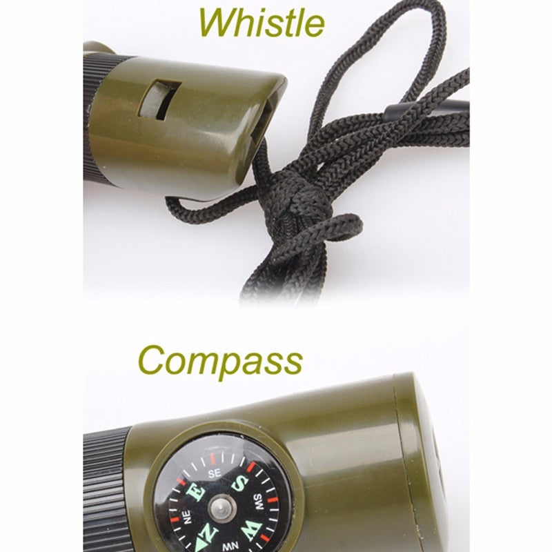 7 in 1 Mini SOS Survival Kit Camping Survival Whistle Compass Thermometer Flashlight Magnifier
