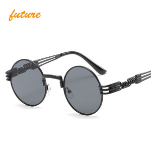 Gothic Steampunk Sunglasses Women Men Metal Wrap Eyeglasses Round Shades Vintage Brand Designer male Sun glasses Mirror oculos