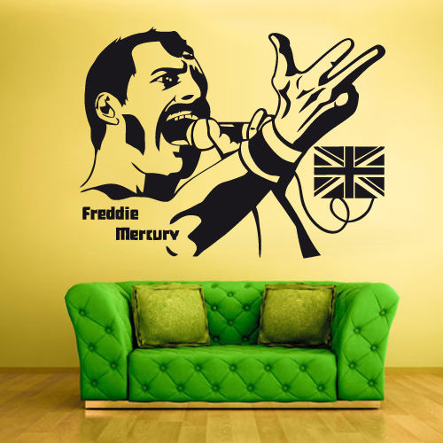 Wall Vinyl Sticker Bedroom Design Freddie Mercury Rock
