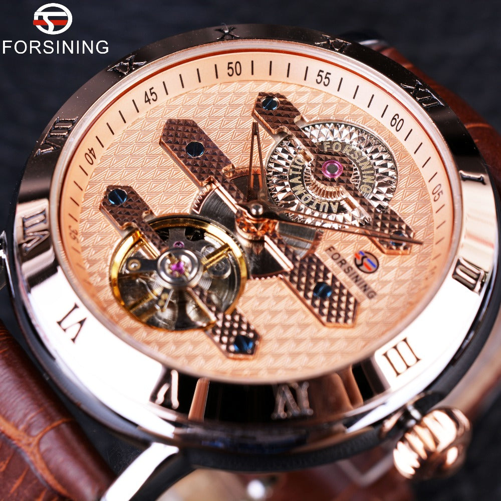 Forsining 2016 Tourbillion Obscure Designer Rose Golden Elegant Retro Designer Clock Mens Watch Top Brand Luxury Automatic Watch - I need more allowance