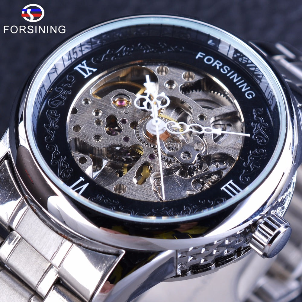 Forsining Silver Stainless Steel Flower Hands Design Unique Obscure Case Mens Automatic Skeleton Wrist Watches Top Brand Luxury - I need more allowance