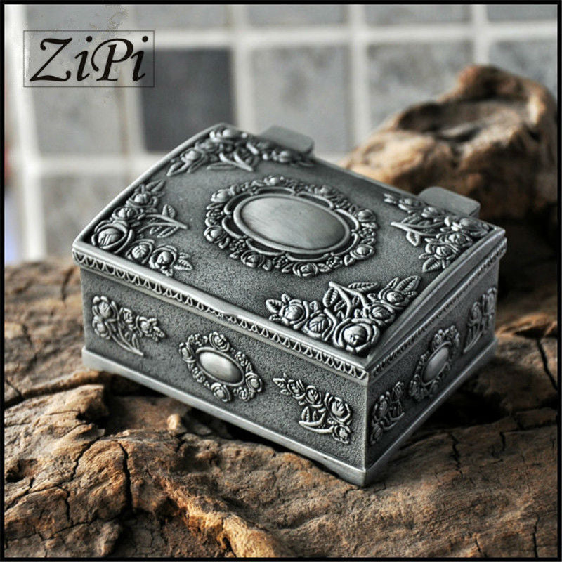 Zipi New Retro European Princess Jewelry Box Gothic Square Obscure Metal Jewelry Box Jewelry Ring Box Gifts - I need more allowance