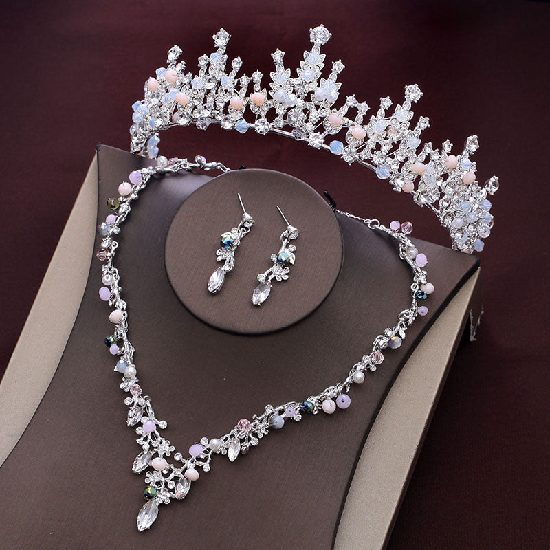 Silver Hair Jewelry Set Wedding Crowns and Tiaras Necklace Rhinestone Crystal Hairbands Headpieces Pageant Bridal Accessories