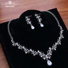 Hair Jewelry Set Wedding Crowns and Tiaras With Necklace Earrings 2018 Silver Beads Crystal Bridal Party Headbands Headpiece