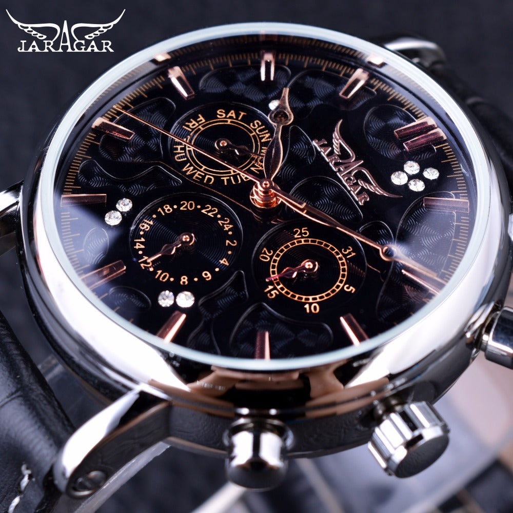 Jaragar Obscure Swirl Fashion 3 Dial Design Diamond Black Golden Dial Genuine Leather Men Watch Top Brand Luxury Automatic Watch - I need more allowance