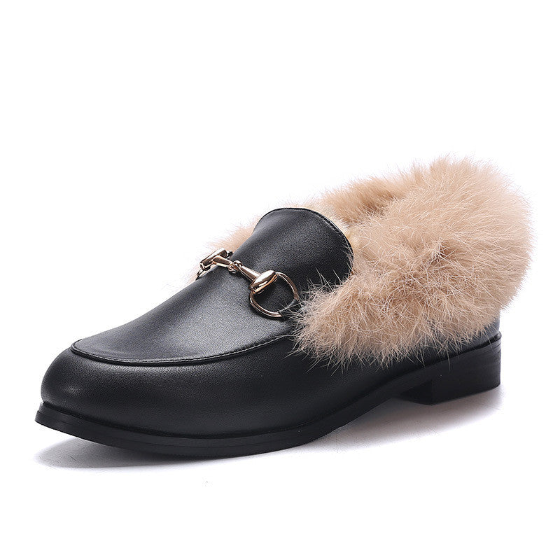 Autumn and winter plush shoes shoes leather rabbit hair flat with warm cotton shoes