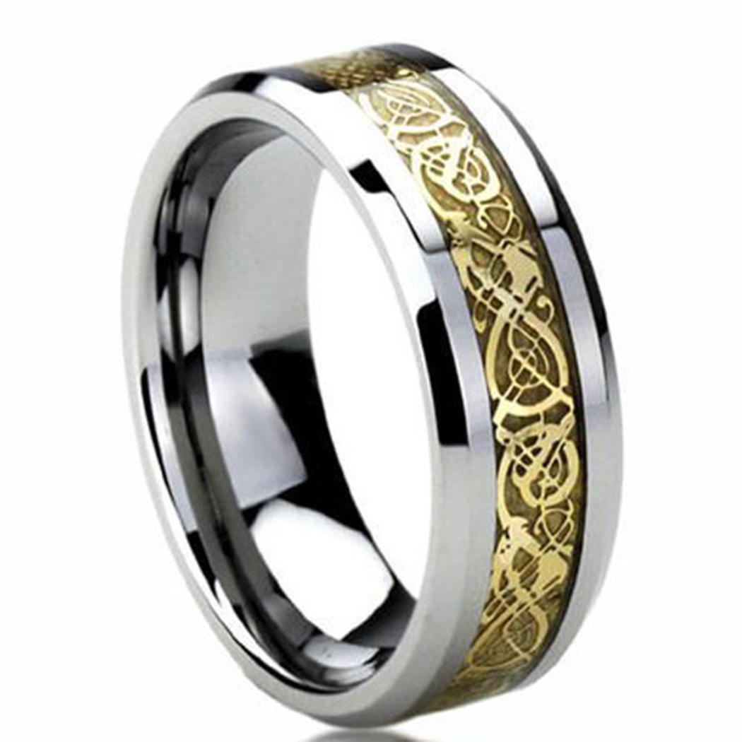 31inch Wedding Pattern Gifts Jewelry Life Stainless Daily Dragon Engagement Men's 0 Party Ring Fashion 8mm Round Steel