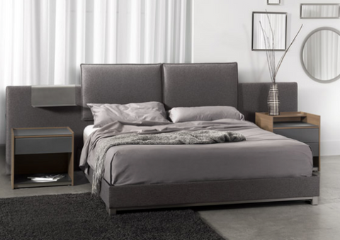 Modern platform bed with customizable fabric options. Ships in 4-6 weeks