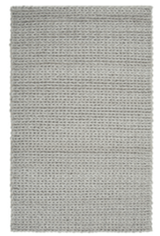 Wool Rug Textured Silver Braid