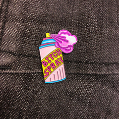 Bitch Spray | Enamel Pin on dark denim