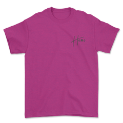 Pink unisex gay pride tee. Homo printed on left chest