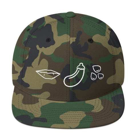 Camo Snapback hat with emojis for oral sex - Eggplant emoji