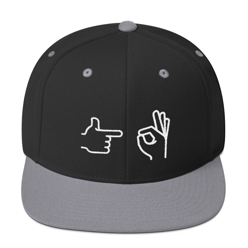 Snapback Hat with the hand emoji representing sex on the front