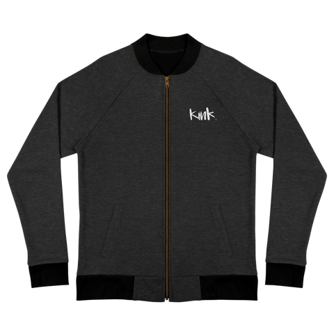 bomber jacket with the word kink embroidered on the front