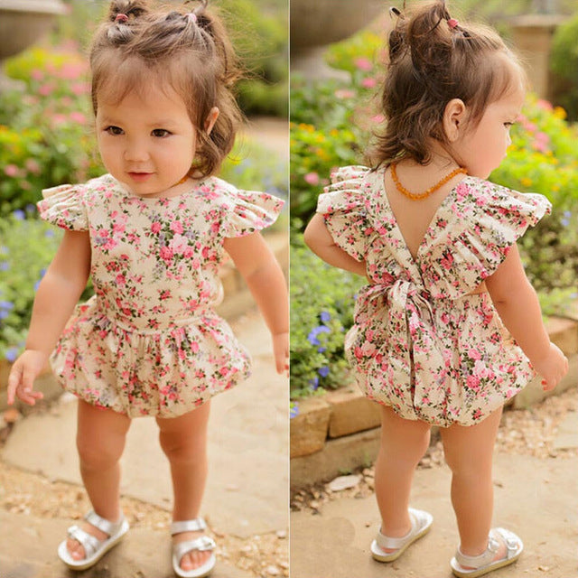 floral printed baby girl romper with ruffles on sleeves