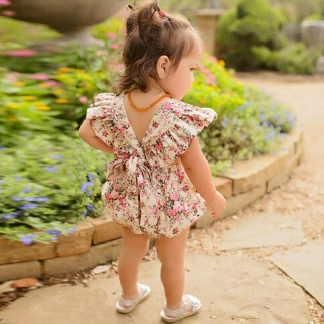floral printed baby girl romper with ruffles on sleeves back view