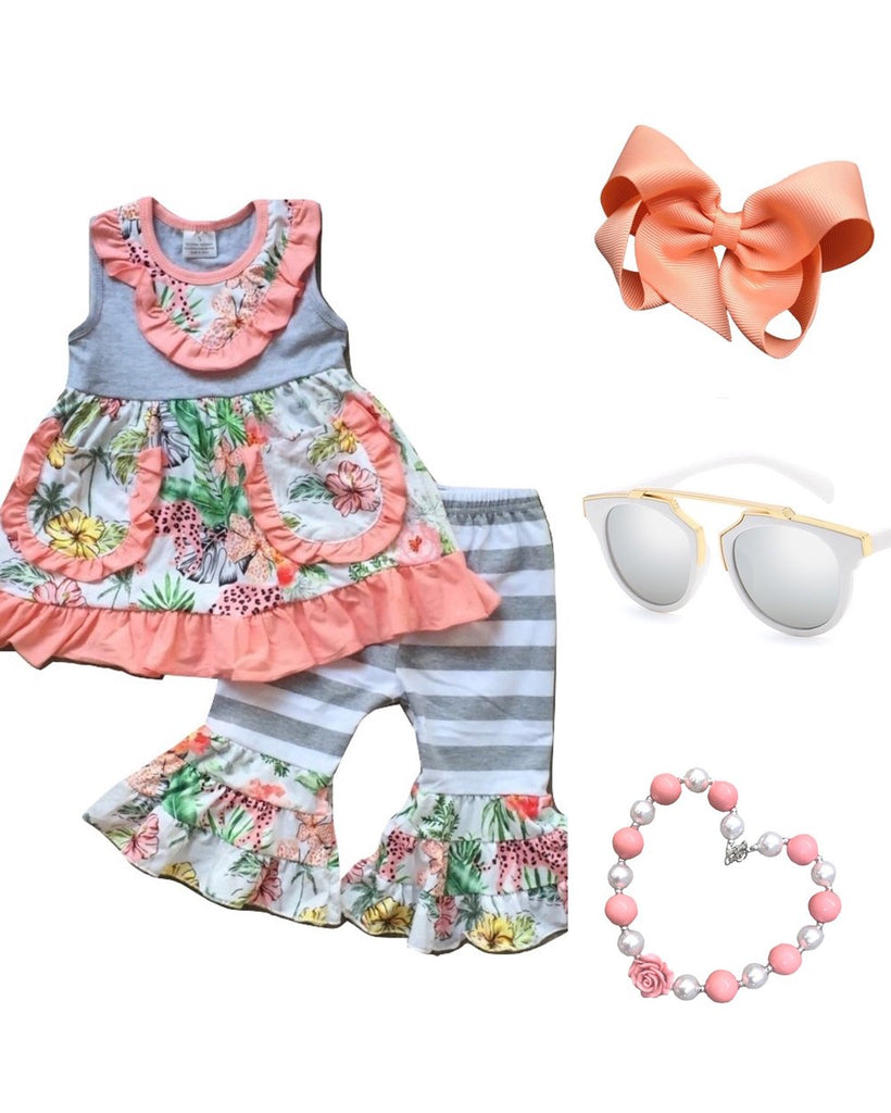 peach floral ruffle 2 piece outfit