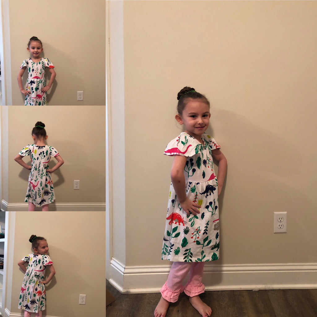 Girls Dinosaur dress, comes in 1 pattern with multiple dinosaurs on it