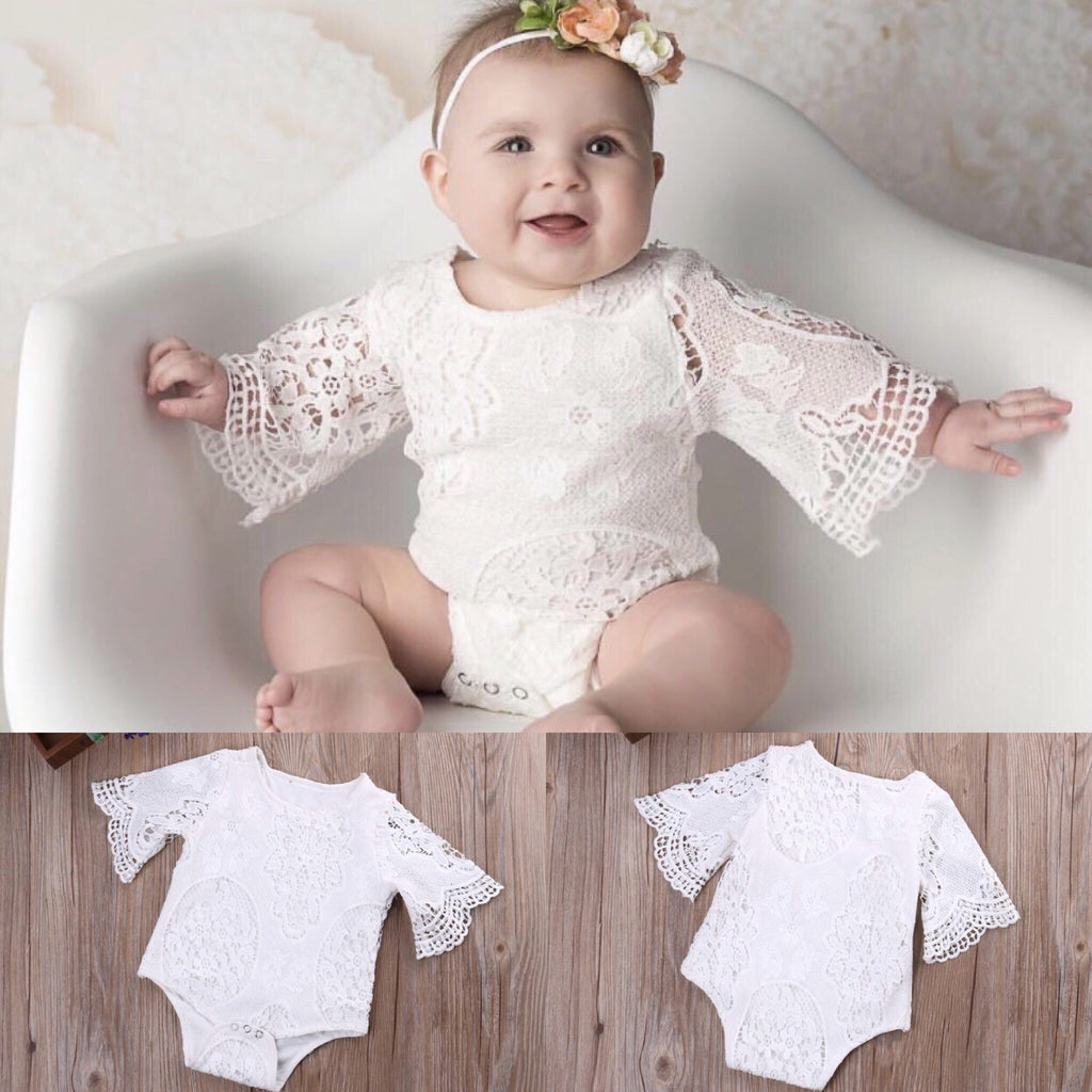 White Lace Ruffle Sleeve Romper - Baby Buttons Boutique adorable and affordable baby and children's clothing.