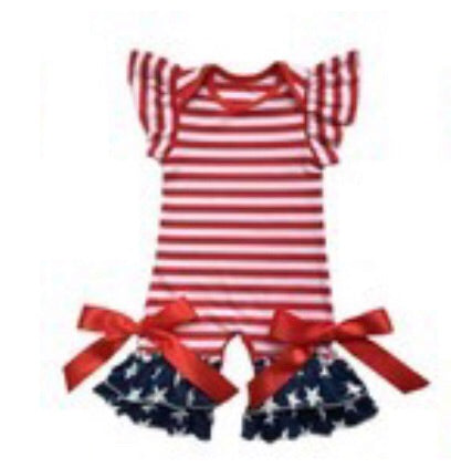 4th of july, stars and stripes ruffle romper
