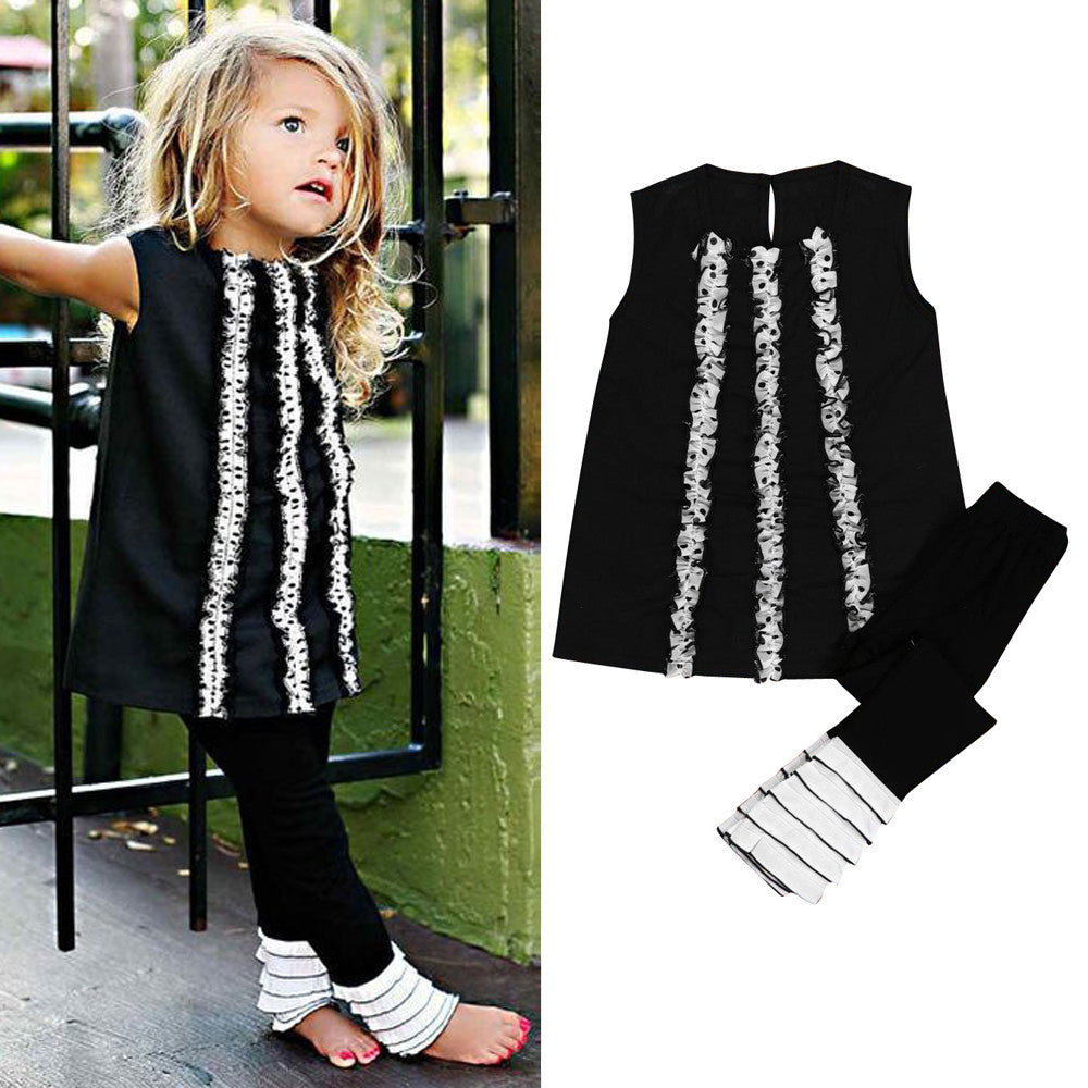 Black and White Top + Pants - Baby Buttons Boutique adorable and affordable baby and children's clothing.