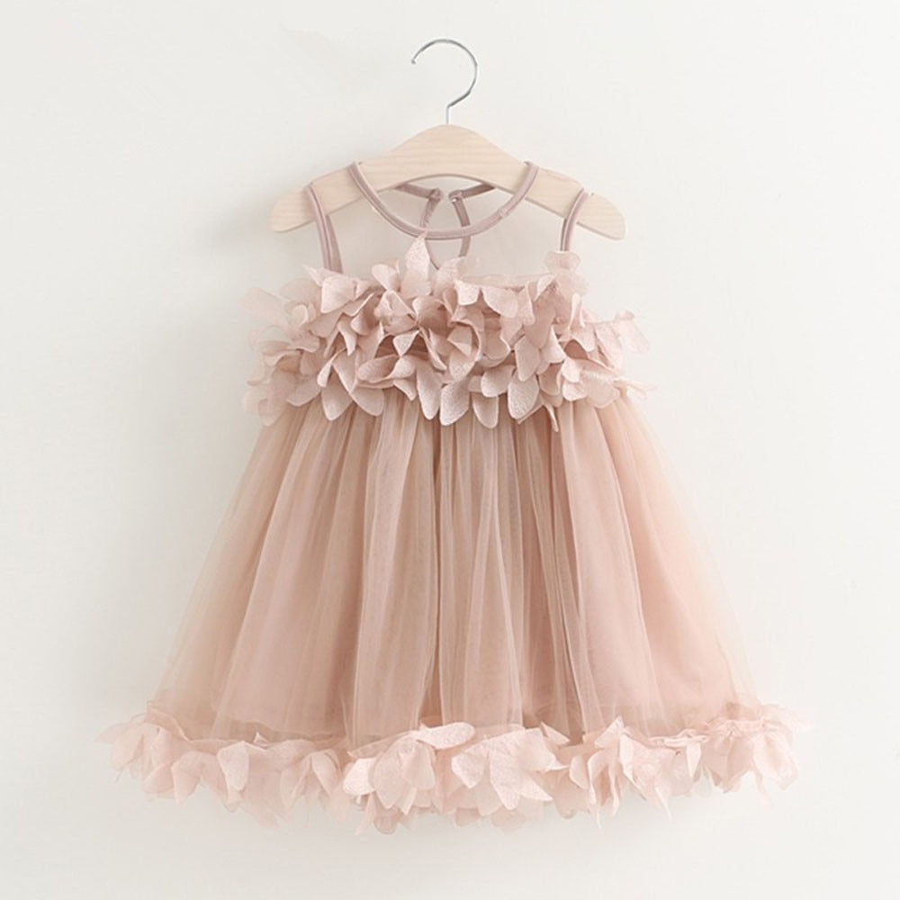pink a-line dress with fabric flower petals
