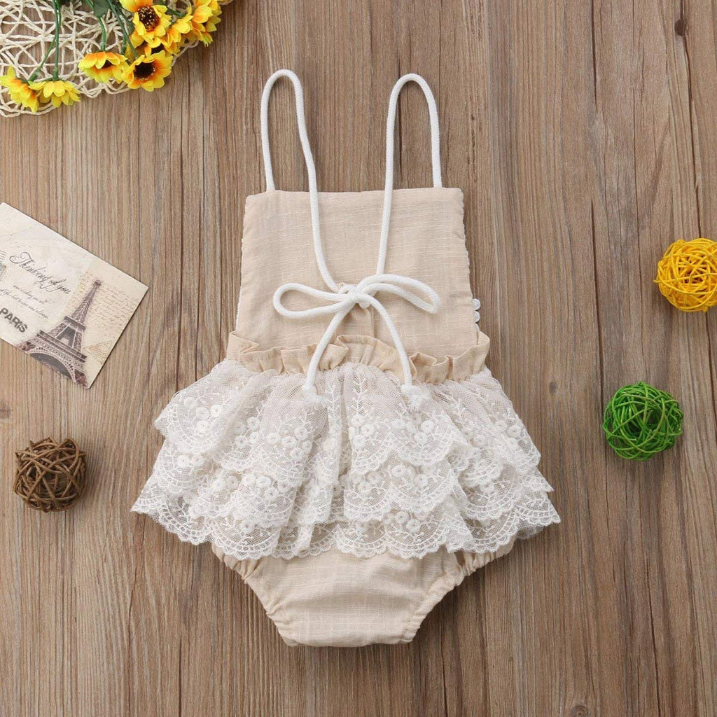 Tan & Lace Backless Romper