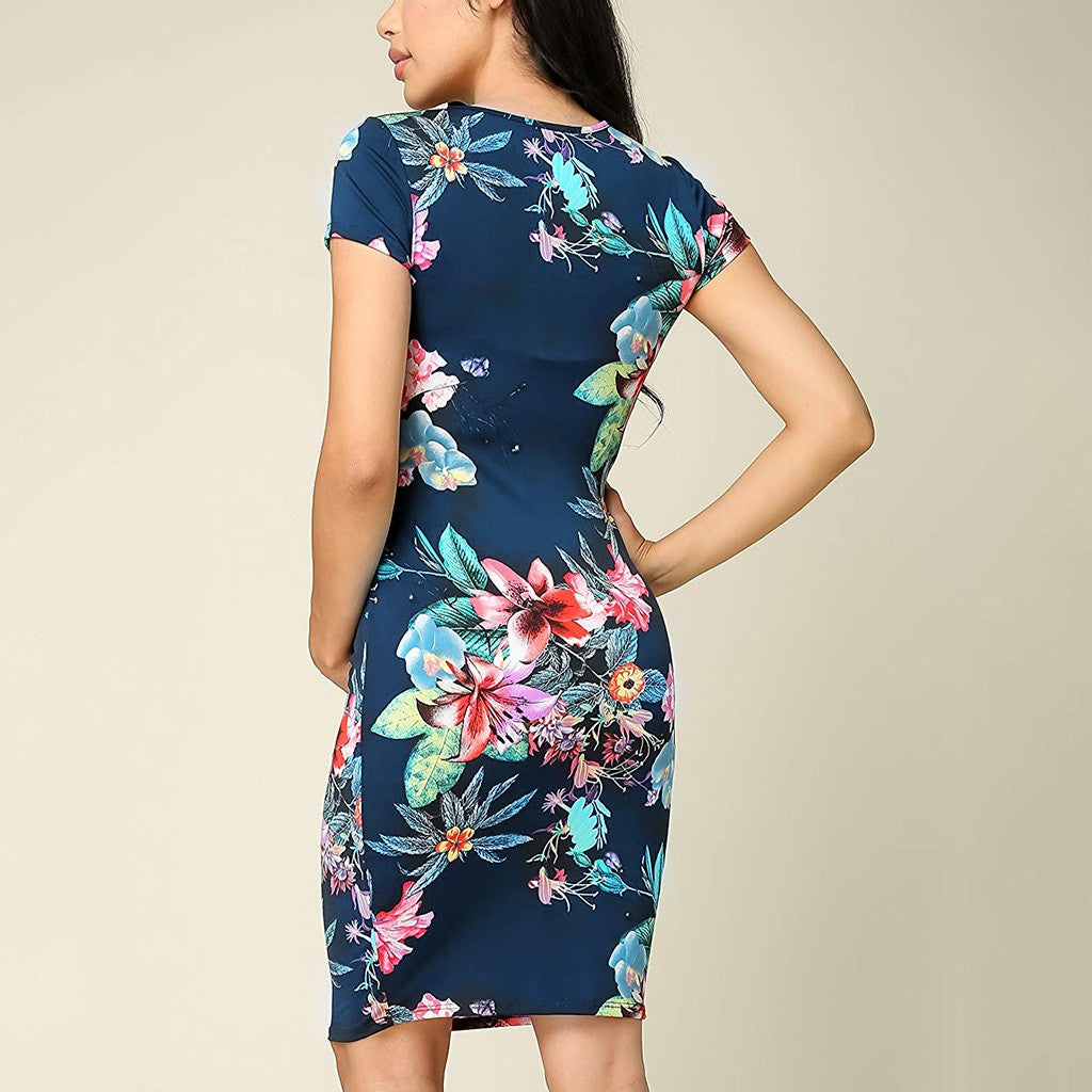 Short Sleeve Floral Maternity Dress